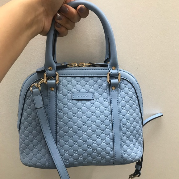 cf4f4734d7f Gucci Handbags - Like new baby blue Gucci GG mini dome satchel bag
